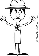 Cartoon Angry Detective Man