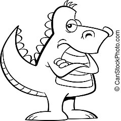 Cartoon angry dinosaur with his arms crossed.