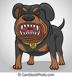 Cartoon angry dog of breed a Rottweiler. - Dog Rottweiler ...