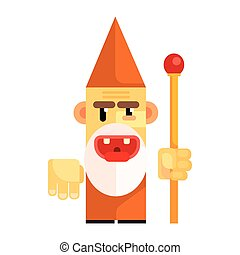 Cartoon angry dwarf holding staff in his hands. Fairy tale, fantastic, magical colorful character