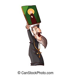 Cartoon angry eastern orthodox priest or monk - Cartoon...