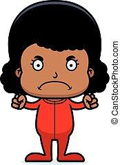 Cartoon Angry Girl In Pajamas