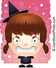 Cartoon Angry Girl Witch