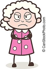 Cartoon Angry Grand Mother Face Expression