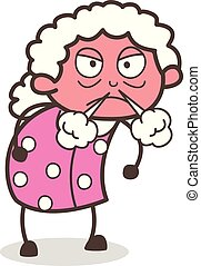 Cartoon Angry Granny Vector Character