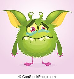 Cartoon angry gremlin. Halloween vector illustration of furry monster