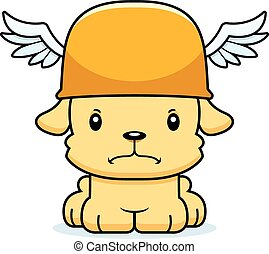 Cartoon Angry Hermes Puppy - A cartoon Hermes puppy looking...