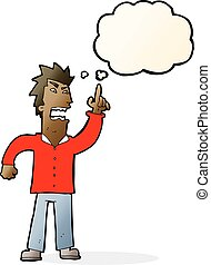 cartoon angry man making point with thought bubble