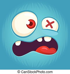 Cartoon angry monster face avatar. Vector illustration