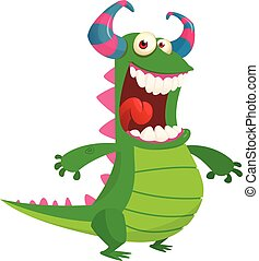 Cartoon angry monster. Halloween vector illustration