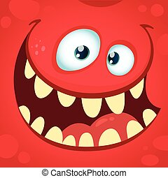 Cartoon angry monster. Vector illustration