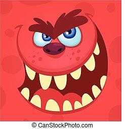 Cartoon angry monster. Vector illustration of troll, gremlin or goblin
