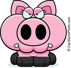 A cartoon illustration of a little pig with an angry expression.
