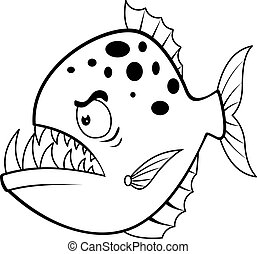 Cartoon angry piranha