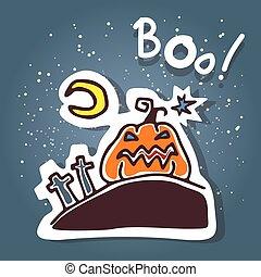 cartoon angry pumpkin