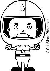 Cartoon Angry Race Car Driver Boy