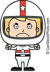 Cartoon Angry Race Car Driver Girl