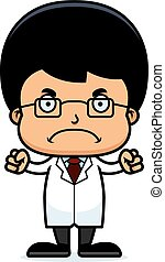 Cartoon Angry Scientist Boy