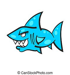 Cartoon Angry Shark Mascot For Your Design