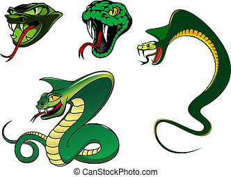 Cartoon angry snake characters - Green cartoon angry snake...
