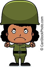 Cartoon Angry Soldier Girl