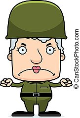 Cartoon Angry Soldier Woman