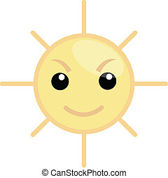 Cartoon Angry Sun Face Expression