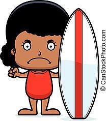 Cartoon Angry Surfer Girl
