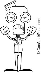 Cartoon Angry Teacher Robot