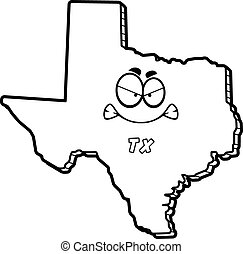 Cartoon Angry Texas - A cartoon illustration of the state of...