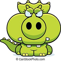Cartoon Angry Triceratops - A cartoon illustration of a ...