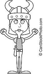 Cartoon Angry Viking Woman