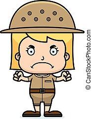 Cartoon Angry Zookeeper Girl - A cartoon zookeeper girl...