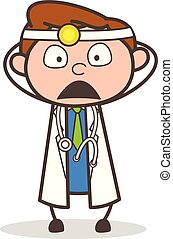Cartoon Anguished Doctor Face Expression Vector Illustration