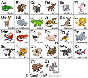 Cartoon animal alphabet learning chart with a cartoon animal illustration for each letter and upper and lowercase letters and animal names