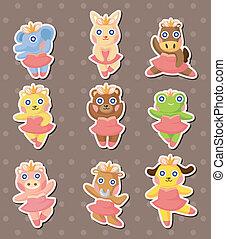 cartoon animal ballerina dancer stickers