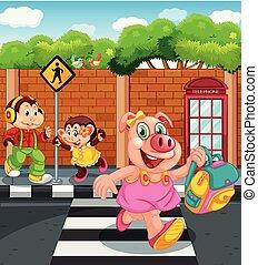 Cartoon animal character going to school