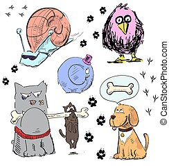 Cartoon animal characters.