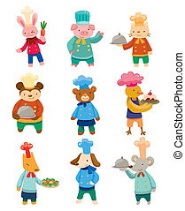 cartoon animal chef icons