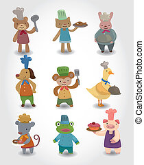 cartoon animal chef icons set