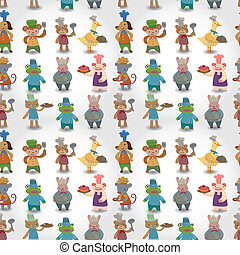 cartoon animal chef seamless pattern