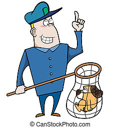 Cartoon Animal Control Officer with Dog in Net - Cartoon...