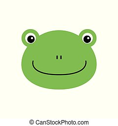 Cartoon animal, cute frog on white backgrounds. Flat design. Vector Illustration