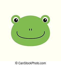 Cartoon animal, cute frog on white backgrounds. Flat design. Vector Illustration