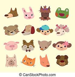 cartoon animal face icons
