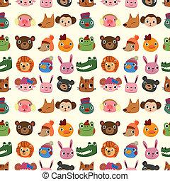 cartoon animal face pattern seamless