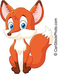 Cartoon animal fox posing