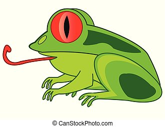 Cartoon animal frog on white background is insulated