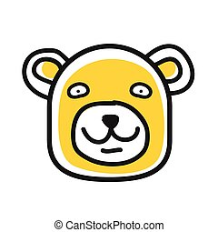 Cartoon animal head icon. Bear face avatar for profile of social networks. Hand drawn design