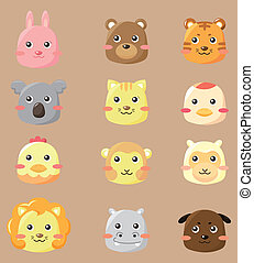 cartoon animal head icon